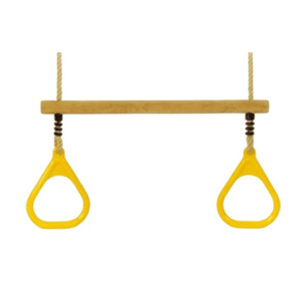 Kiik puidust trapets käepidemetega kollane