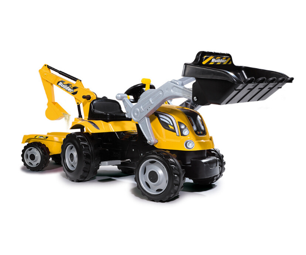 Smoby traktor pedaalidega Builder MAX saha ja kopaga + käru