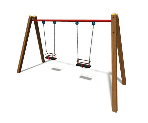 Kahe kiigeistmega puidust kiik (TE404)