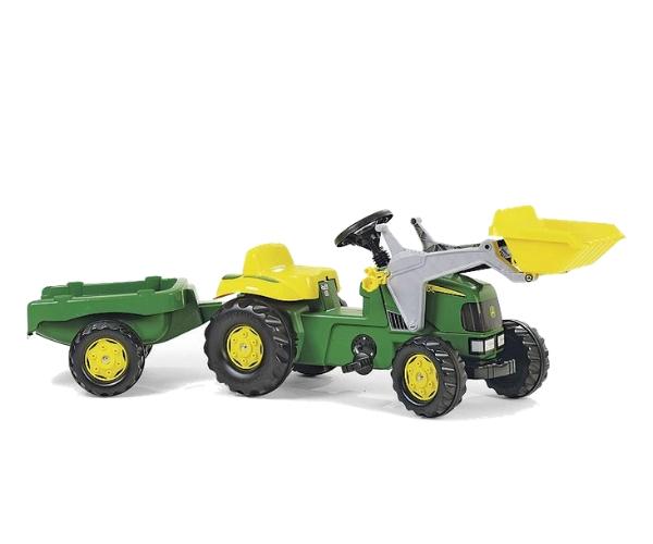 Pedaalidega traktor kopa ja käruga John Deere
