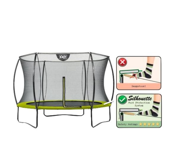 Batuut 'Siluett' Ø305cm + ohutusvõrk, vedrukate ja ankrud 4tk, roheline