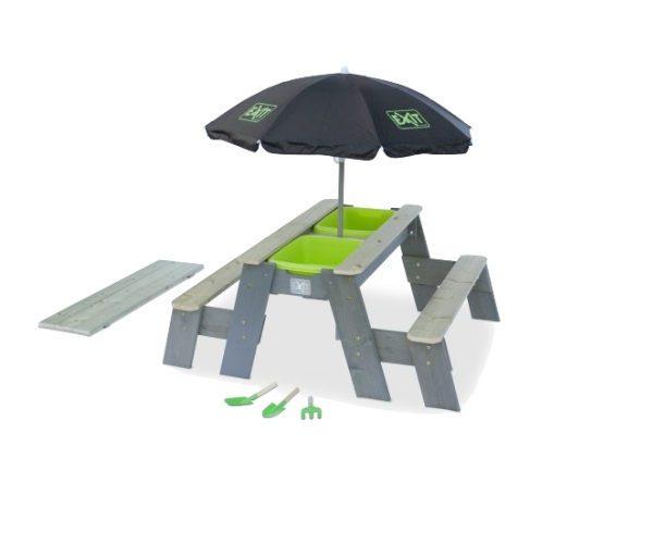 Laste mängulaud plastikust kastidega + 2 pinki ja päikesevari (120x94 cm)