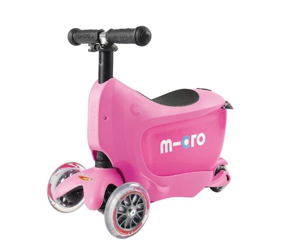 Laste tõukeratas Micro Mini2Go Classic 3-in-1 (roosa), lastele 18+ kuud