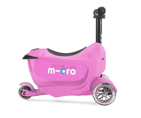 Laste tõukeratas Micro Mini2Go Deluxe 3-in-1 (roosa), lastele 18+ kuud