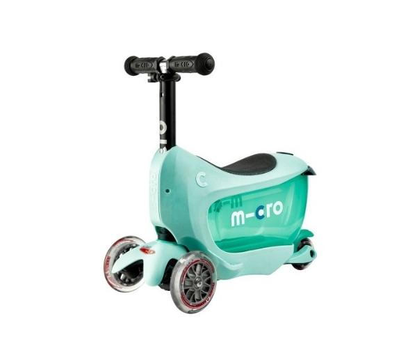 Laste tõukeratas Micro Mini2Go Deluxe 3-in-1 (mint), lastele 18+ kuud