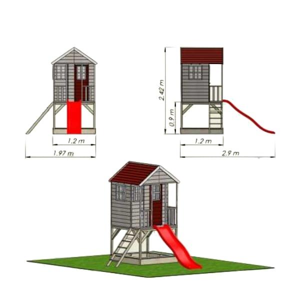 Mängumaja Mirell 2 + liumägi 1.75m (1.44m2)