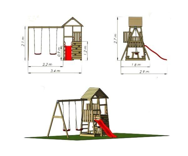 Mänguväljak Karl + kiigemoodul Swing-1, ühekohaline
