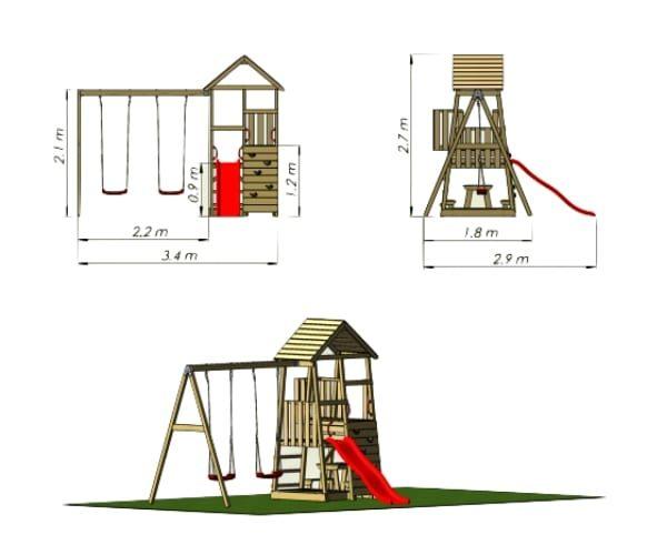 Mänguväljak Karl + kiigemoodul Swing-2 + piknikulaud