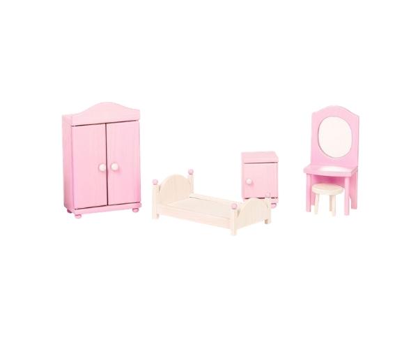 Nukumööbel nukumaja magamistuppa (valge ja roosa)
