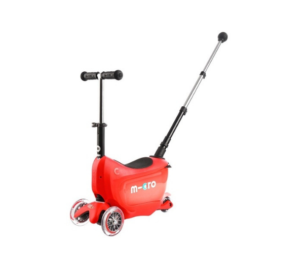 Laste tõukeratas Micro Mini2Go Deluxe PLUS 3-in-1 (punane), lastele 18+ kuud (lükkevarrega)