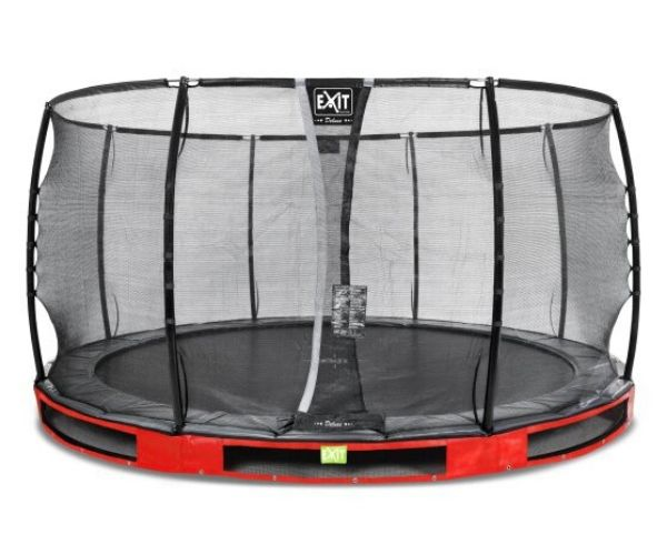 Batuut maapinnale 'Elegant Premium' Ø427cm + ohutusvõrk Deluxe + vedrukate, punane