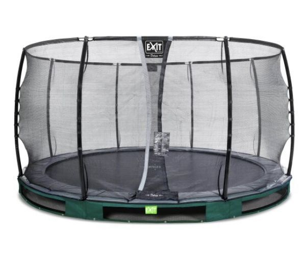 Batuut maapinnale 'Elegant Premium' Ø427cm + ohutusvõrk Deluxe + vedrukate, roheline