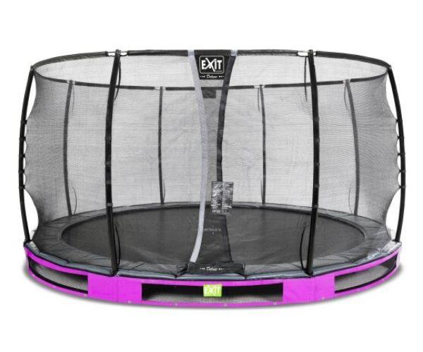 Batuut maapinnale 'Elegant Premium' Ø427cm + ohutusvõrk Deluxe + vedrukate, roosa