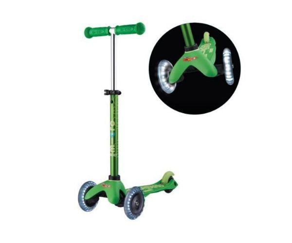 Laste tõukeratas Micro Mini Deluxe LED-ratastega (roheline), lastele 2-5 aastat