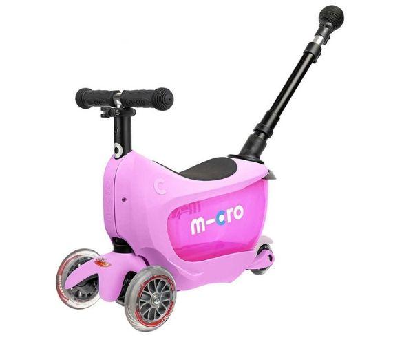 Laste tõukeratas Micro Mini2Go PLUS Deluxe 3-in-1 (roosa)