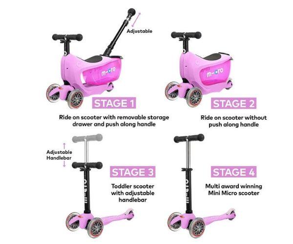ff1e05d6cbd Laste tõukeratas Micro Mini2Go PLUS Deluxe 3-in-1 (roosa), lastele ...