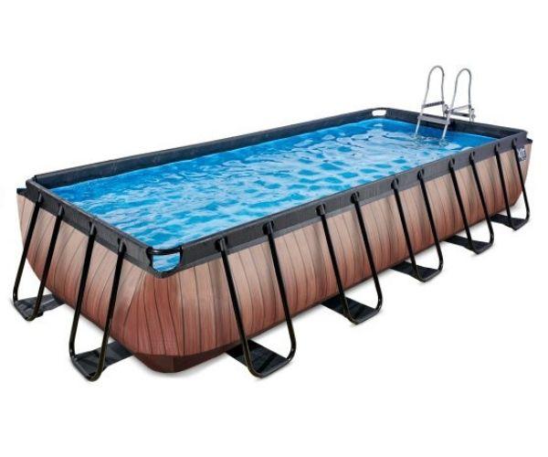 Välibassein 'Wood' 540 x 250cm karkassi, veefiltri ja redeliga, pruun