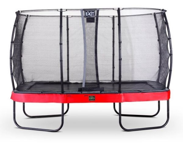 EXIT batuut 'Elegant Premium' 244x427cm + ohutusvõrk Economy ja vedrukate, punane