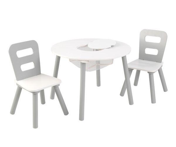Laste laud ja toolid, 'Kidkraft' Round, hall-valge