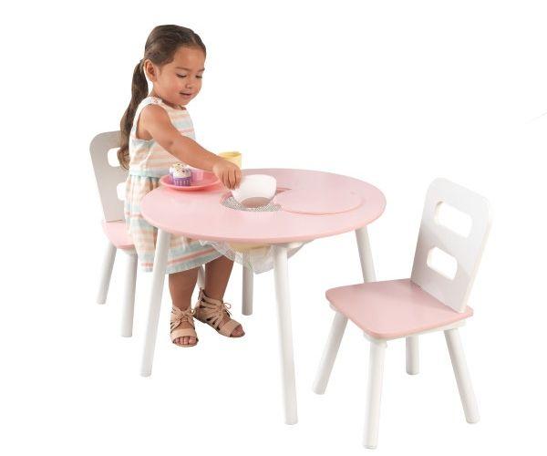 Laste laud ja toolid, 'Kidkraft' Round, roosa-valge