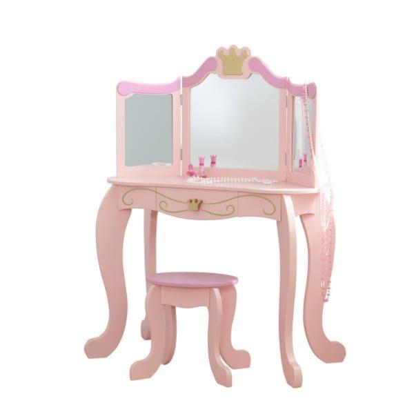 KidKraft meigilaud ja tool (buduaarilaud) lastele 'Princess Vanity', roosa