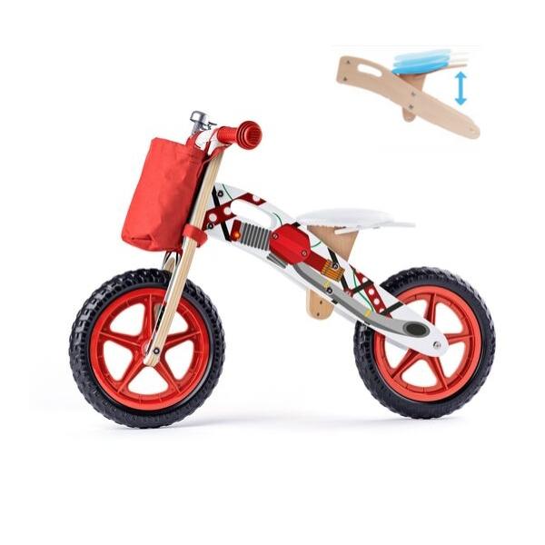 Laste jooksuratas puitraamil 'Bike' (punane)