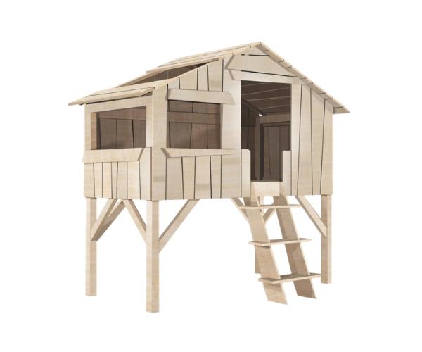 Laste onn-voodi Mathy by Bols 'Treehouse' (naturaalne täispuit)