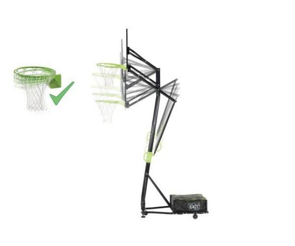 Teisaldatav ratastel korvpallilaud EXIT Galaxy + vedruga korvirõngas, roheline/must