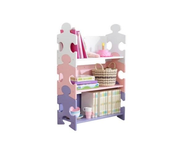 KidKraft laste riiul Puzzle valge/roosa/lilla