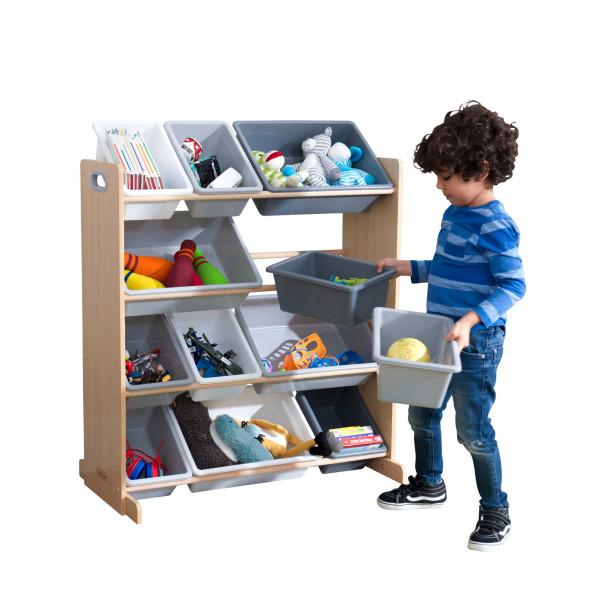KidKraft mänguasjade riiul '12 Bin' hall-valge