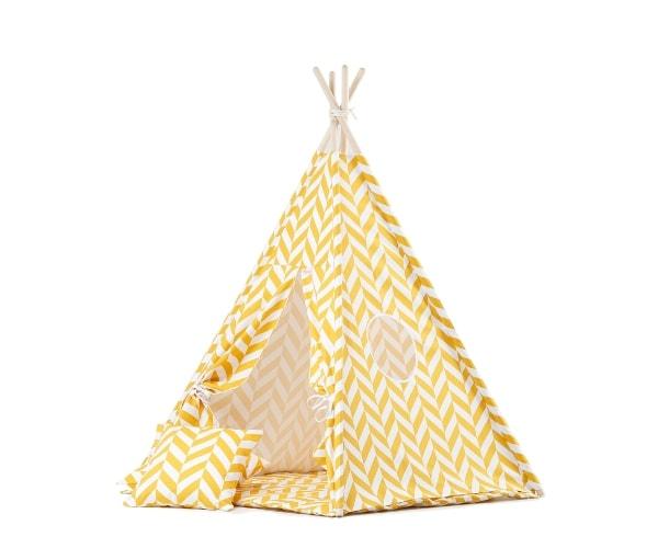 Wigiwama tipi telk + pehme alusmatt ja padjakate, Kalasaba (kollane)