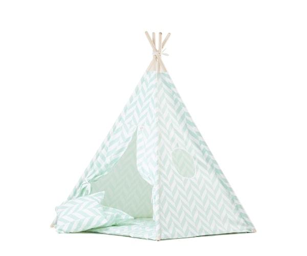 Wigiwama tipi telk + pehme alusmatt ja padjakate, Kalasaba (mint)