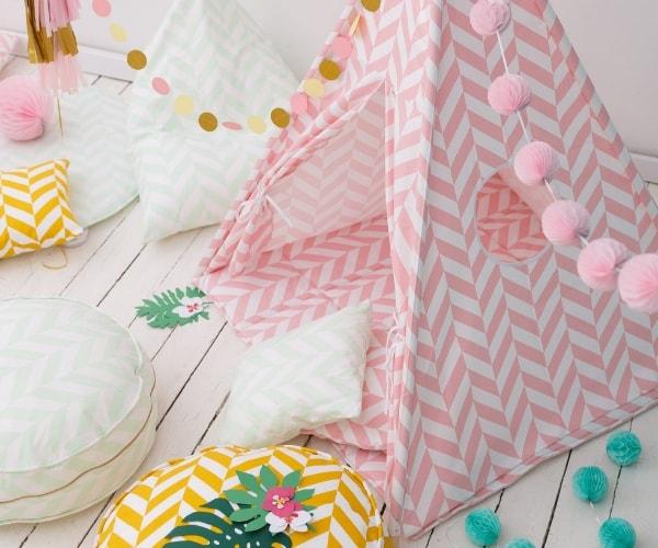 Wigiwama tipi telk + pehme alusmatt ja padjakate, Kalasaba (roosa)