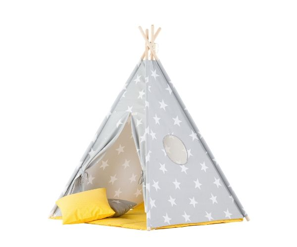 Wigiwama tipi telk + pehme alusmatt ja padjakate, Täht (hall-kollane)
