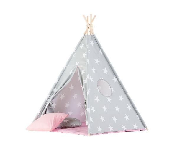 Wigiwama tipi telk + pehme alusmatt ja padjakate, Täht (hall-roosa)