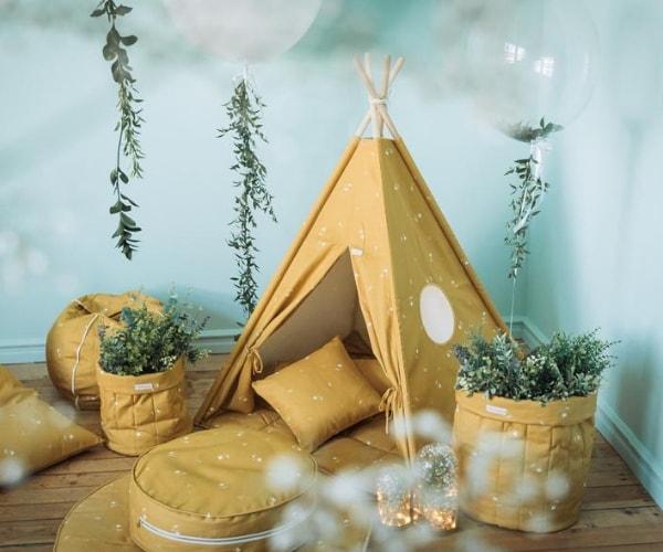 Wigiwama tipi telk + pehme alusmatt ja padjakate (meekollane)