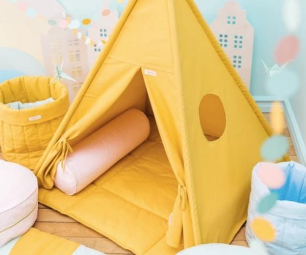 Wigiwama tipi telk + pehme alusmatt ja padjakate (kollane)