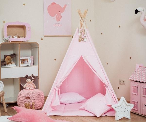 Wigiwama tipi telk + pehme alusmatt ja padjakate (roosa)