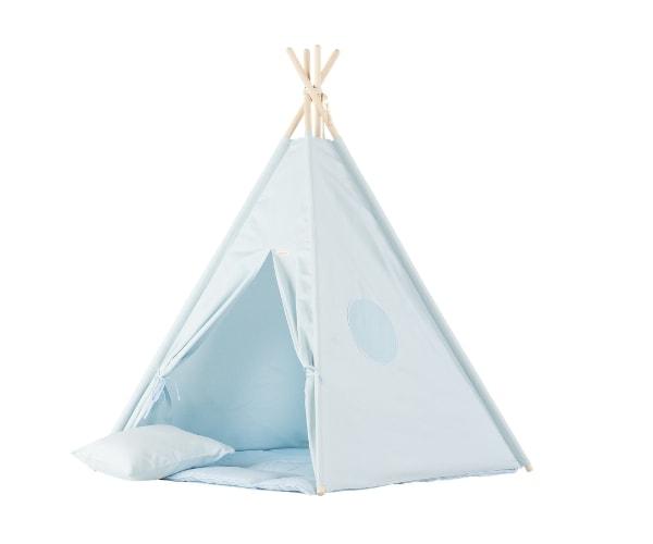Wigiwama tipi telk + pehme alusmatt ja padjakate (sinine)