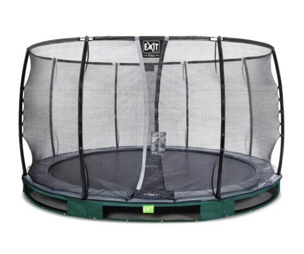 EXIT batuut maapinnale 'Elegant Premium' Ø366cm + ohutusvõrk Deluxe + vedrukate, roheline