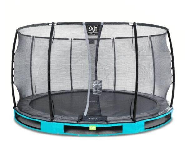EXIT batuut maapinnale 'Elegant Premium' Ø366cm + ohutusvõrk Deluxe + vedrukate, sinine