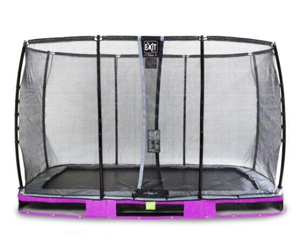 EXIT batuut maapinnale 'Elegant Premium' 244x427cm + ohutusvõrk Deluxe + vedrukate, lilla