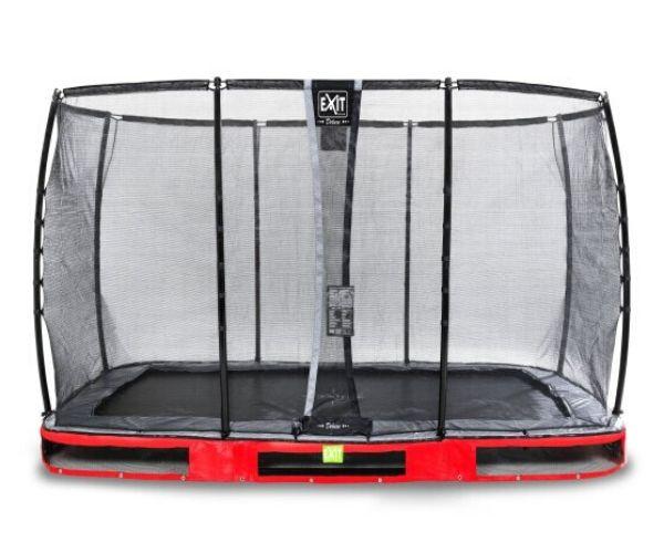 EXIT batuut maapinnale 'Elegant Premium' 244x427cm + ohutusvõrk Deluxe + vedrukate, punane