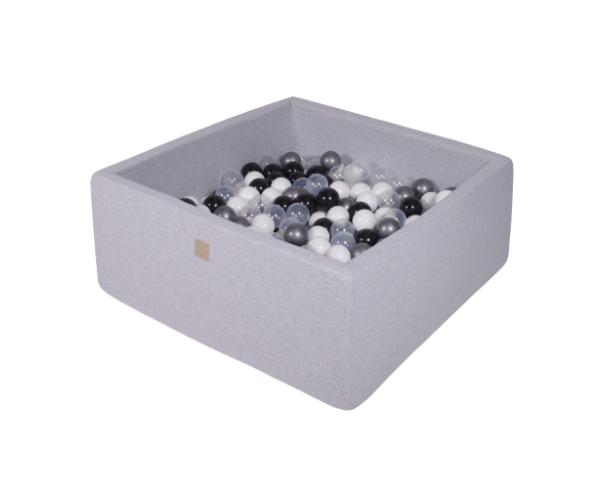 Pallimeri kandiline Meow 90x90/40cm + 200 palli (helehall-must mix)