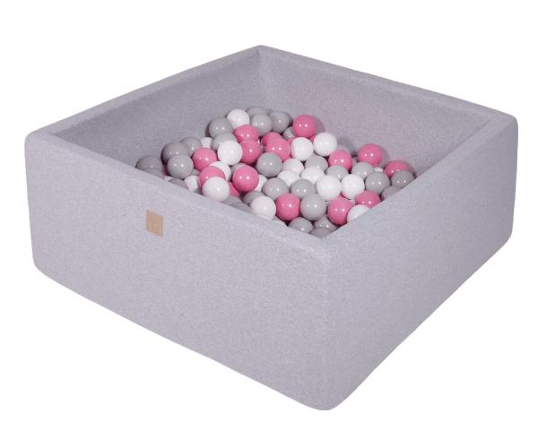 Pallimeri kandiline Meow 90x90/40cm + 200 palli (helehall-õrnroosa mix)