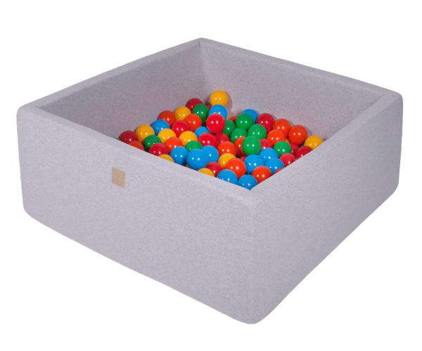 Pallimeri kandiline Meow 90x90/40cm + 200 palli (helehall-värvide mix)
