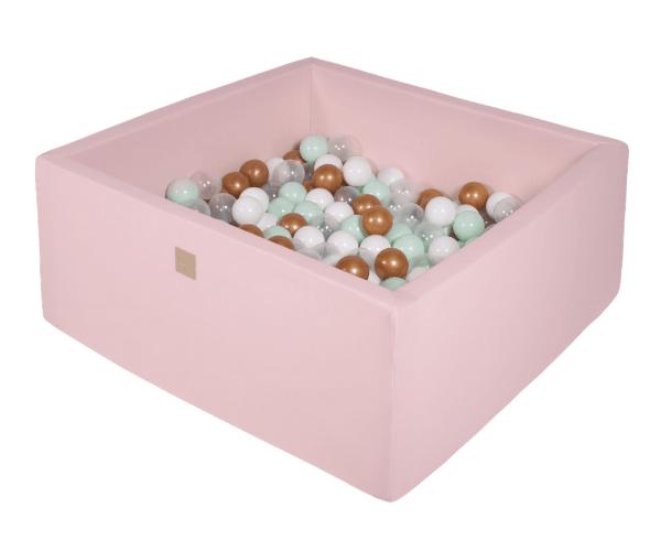 Pallimeri kandiline Meow 90x90/40cm + 200 palli (roosa-kuldne mix)