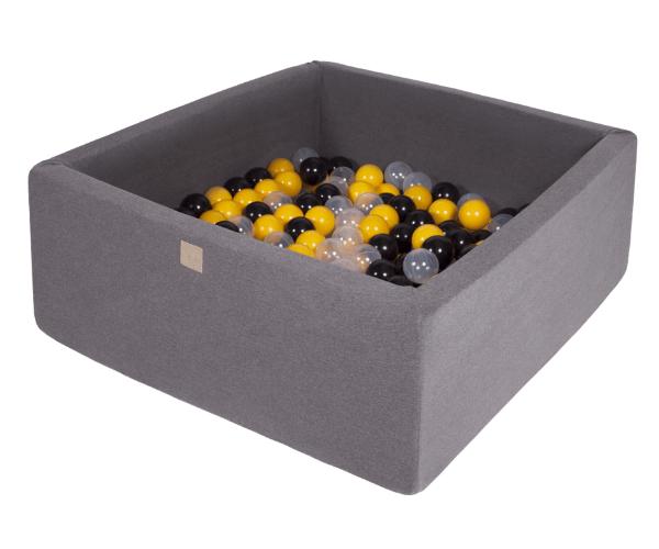 Pallimeri kandiline Meow 90x90/40cm + 200 palli (tumehall-kollane mix)