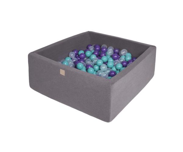 Pallimeri kandiline Meow 90x90/40cm + 200 palli (tumehall-lilla mix)