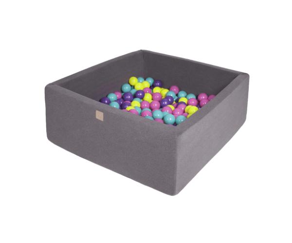 Pallimeri kandiline Meow 90x90/40cm + 200 palli (tumehall-värvide mix)